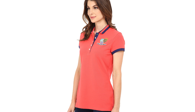 5a60be7d6 Us Polo Assn Orange Patch & Embroidered Embellished Polo Shirt For Women