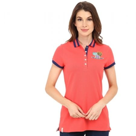 511855e74 Us Polo Assn Orange Patch & Embroidered Embellished Polo Shirt For Women -  Size: Small - Makhsoom