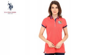 889c47905 Us Polo Assn Orange Patch & Embroidered Embellished Polo Shirt For Women -  Size: Small