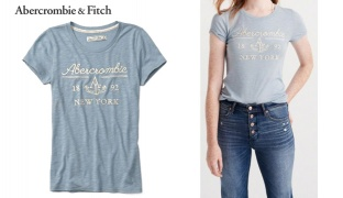 97270e336 Abercrombie & Fitch Light Blue Logo Graphic Tee For Women - Size: XS