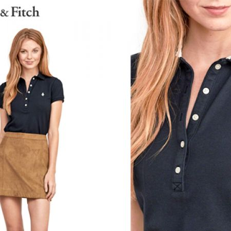 a95d6820e Abercrombie & Fitch Navy Blue Iconic Polo Shirt For Women Size: Medium -  Makhsoom