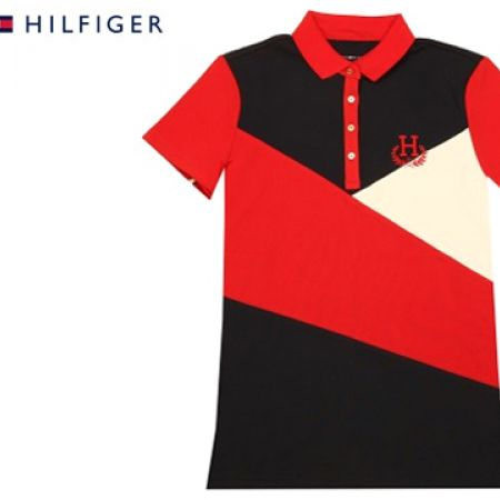 755f2ac13 Tommy Hilfiger Red White & Black Polo Shirt For Women Size: Medium