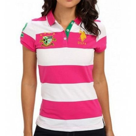 300a601a1 Us Polo Assn Stripes Pink Peak & White Polo Shirt For Women Size: Small
