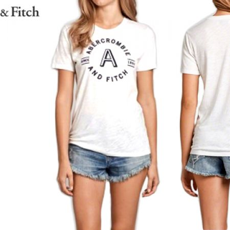 73d600955 Abercrombie & Fitch White Logo Graphic Polo Shirt For Women Size: Large