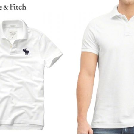 c53f19cb Abercrombie & Fitch White Big Icon Polo For Men Size: Large - Makhsoom