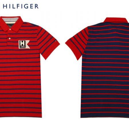 0274c4c139 Tommy Hilfiger Stripes Red & Navy Blue Polo Shirt For Men Size: Medium