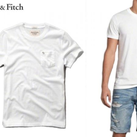 9ea27e4cb Abercrombie & Fitch White Muscle Fit Crew Pocket Tee For Men Size: Large
