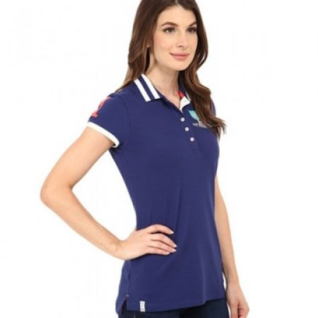 dc8c31aa4 Us Polo Assn Navy Blue Patch & Embroidered Embellished Polo Shirt For Women