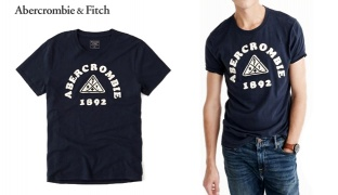 886c129aa Abercrombie & Fitch Navy Blue Logo Graphic Tee For Men - Size: Small