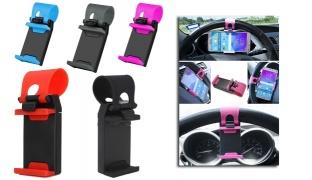 Multifunctional Car Steering Wheel Phone Socket Holder - Black