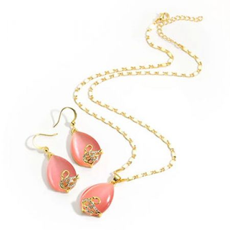 Set Of Gold Plated Pink Opal Swan Pendant Necklace With Earrings For Women