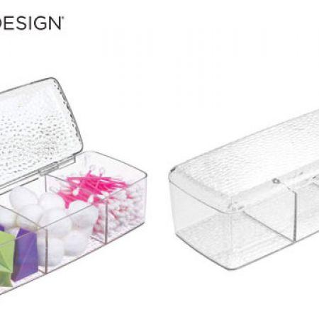 InterDesign Rain Vanity Clear Box With Lid 23.5 x 12 x 7 cm
