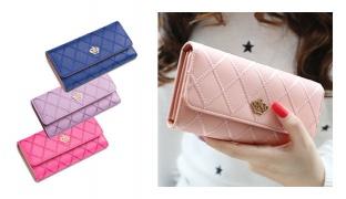 Fashion Crown Plaid Double Zip Clutch Leather Wallet For Women - Black