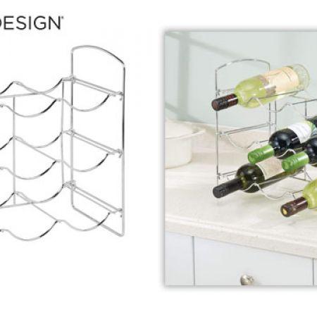 InterDesign Classico Chrome Free-Standing Countertop Wine Rack 9-Bottle 36.83 x 20 x 34 cm