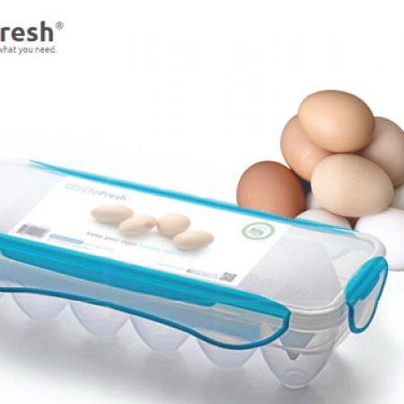 ClipFresh Blue Fresh Microwave Egg Holder 12 Eggs 32.5 x 13.3 x 7.6 cm