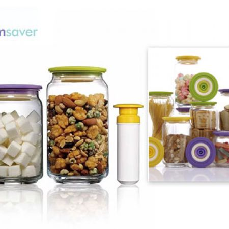 Vacuumsaver Set Of Colopot Airtight Glass Jar With Mini Vacuum Pump 4 Pcs