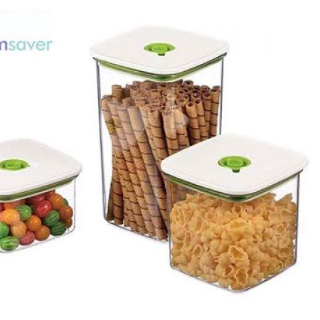Vacuumsaver Set Of Crystal Tritan Square Airtight Food Container With Mini Vacuum Pump 4 Pcs
