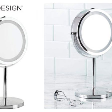 InterDesign Chrome Free-Standing Portable Double-Sided Vanity Mirror With Lighting 33 cm
