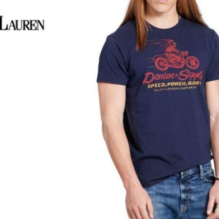927080100ffcbd Ralph Lauren Navy Blue Cotton Jersey Graphic Tee For Men - Medium ...