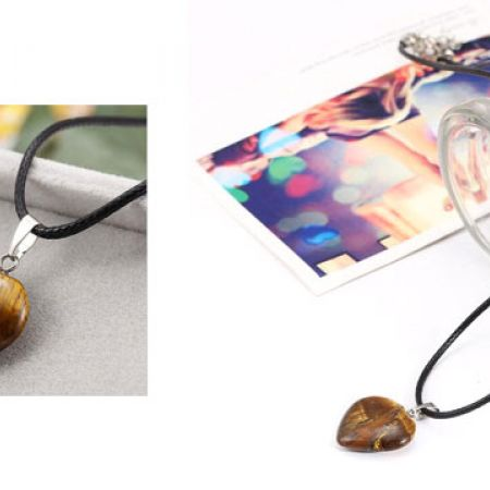 Polished Tiger Eye Heart Pendant Necklace For Women