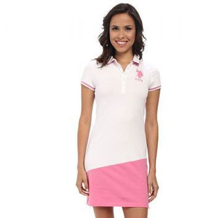 U.S. Polo Assn White & Pink Polo Dress For Women Size: Large