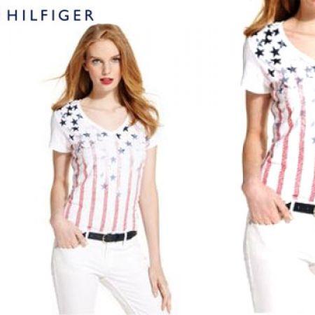 Tommy Hilfiger US Flag Short-Sleeve Stars & Stripes Tee For Women Size: Medium