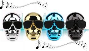 Skull Wireless Bluetooth Speaker 13 x 11 x 11 cm - Black