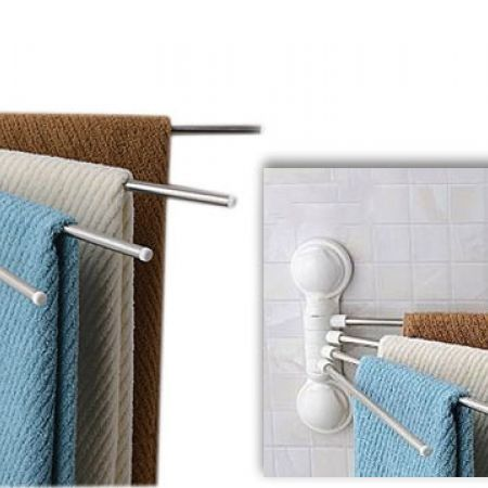Super Power Double Suction Cup 4 Bar Towel Rack