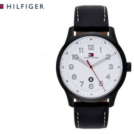 Tommy Hilfiger Simple Leather Black Round Watch For Men