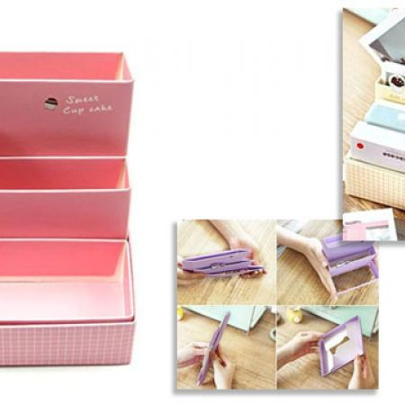 DIY Pink Makeup Paper Folding Board Storage Box