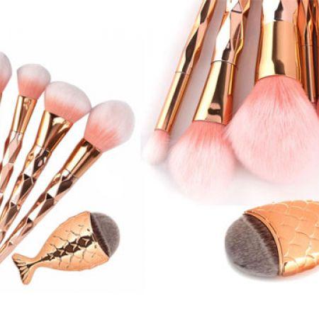 Set Of Diamond Rose Gold Makeup Brush 7 Pcs