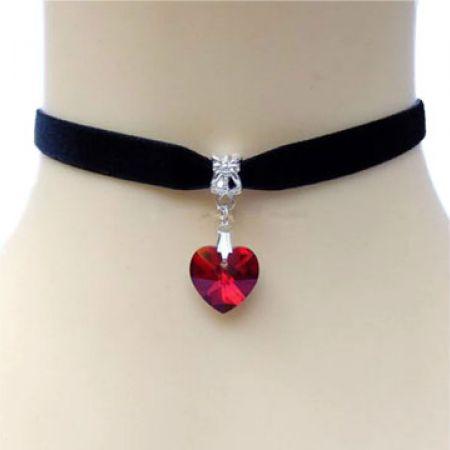 Red Crystal Heart Choker For Women