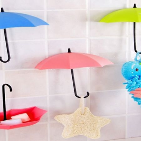 Set Of 3 Pcs Umbrella Wall Hook - Yellow,Pink & Red