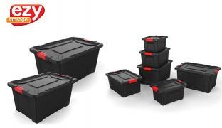 Ezy Latch Black Heavy Duty Srorage Box - 55 L