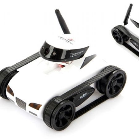 ISpy White Mini Wireless 4-Channel Spy Tank Rc Car Wifi Controlled By iPhone & iPad