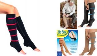 Zip Sox Zip-Up Open-Toe Compression Socks 1 Pair - Black - Small