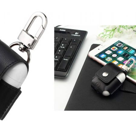 G-Case Anti-Lost Black Leather Protective Cover For Apple AirPods