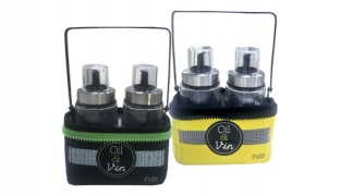Eliss Kitchenware Oil & Vinegar Set With Holder & Neoprene Basket - Black