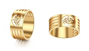 Stainless Steel Gold Tree Of Life Ring For Women - Size: 10