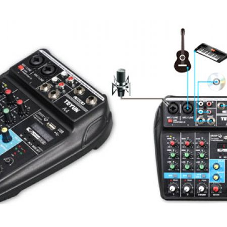 Teyun A4 Multi-function Audio Mixer with Bluetooth Record 4 Channels