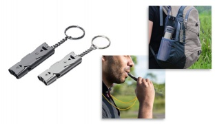 Stainless Steel Outdoor Survival Signal Double Tubes Emergency Whistle - Grey