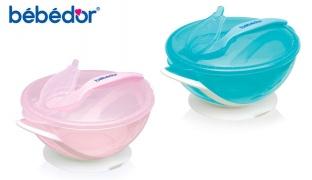 Bebedor Vacuum Plate With Spoon - Blue