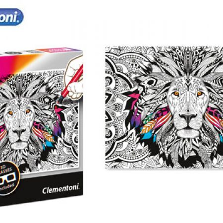 Clementoni 3D Color The Lion Therapy Puzzle With 3D Glasses 500 Pcs