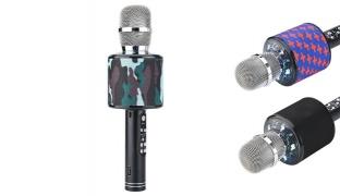 Surrounding K319 Bluetooth Sound Karaoke Microphone With Led - Black