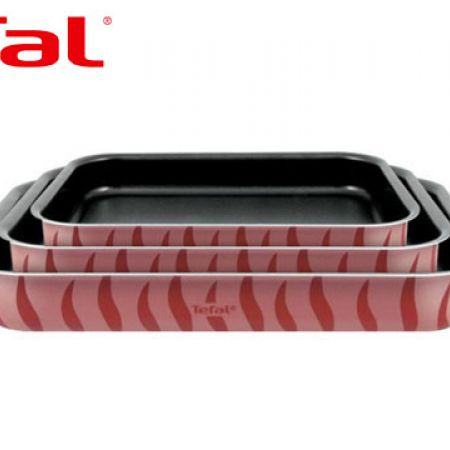 Tefal Set Of Flame Rectangular Aluminum Oven Dish 3 Pcs 29 - 31 - 37 cm J1195685
