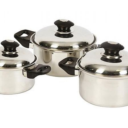 Set Of Stainless Steel Cookware With Lids 3 Pcs