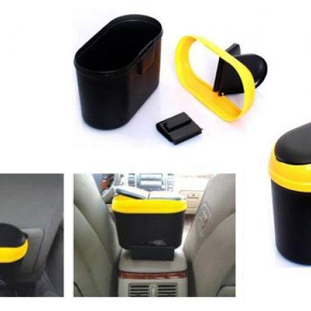 Ergonomic Yellow & Black Plastic Car Trash Bin