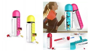Sport Water Bottle With Built-in Daily 7 Daily Pill Box Vitamin Organizer 600 ml - Pink