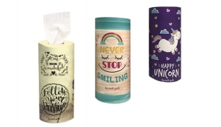 Stylish Napkin Holder Case With Napkins Included 14.5 x 6.5 cm - Never Stop Smiling