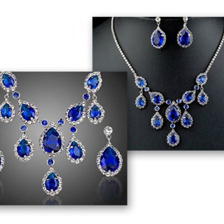 eb446f34c Set Of Swarovski Blue Platinum Plated Water Drop Necklace With Earrings For  Women 3 Pcs